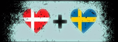 En bild med ett danskt hjärta och ett svenskt hjärta